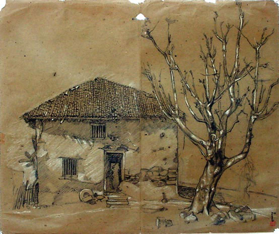 Old house and the tree charcoal pencil 提供 tree life tree